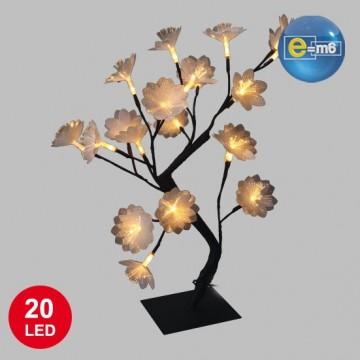 Bonzai fleurs fibre optique 20 leds blanc chaud 45 cm