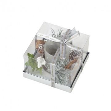 Bougeoir décoré en verre blanc 11,5 x 11,5 cm