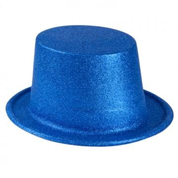 Chapeau haut de forme bleu pailleté