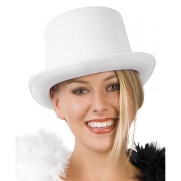 Chapeau Haut de forme Gala satin blanc