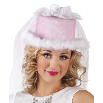 Chapeau mariée rose avec voile