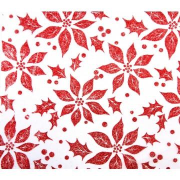 Chemin de table Bach rouge pailleté 28 cm x 5 m