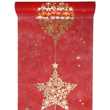 Chemin de table Flocon rouge 30 cm  x  5 m