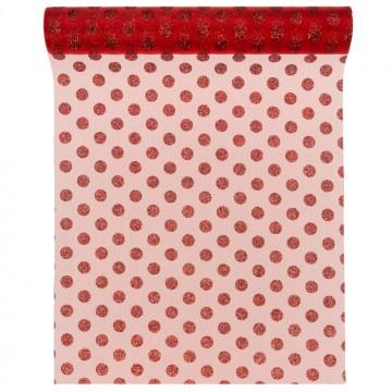 Chemin de table pois rouges organza 30 cm x 5 m