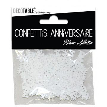 Confettis de table Joyeux Anniversaire Blanc albâtre