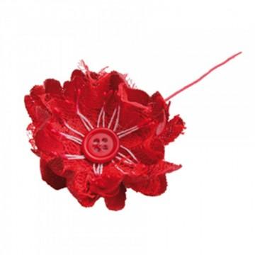 Lot de 10 fleurs rouges Choupy en jute