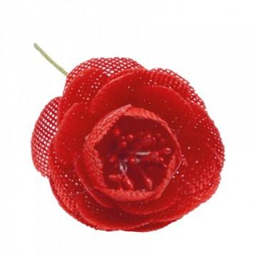 Lot de 10 fleurs rouges Pivoine en jute