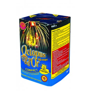 Feu d'artifice compact Octopus d'or 16 coups