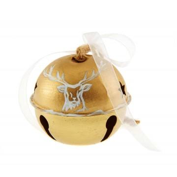 Grelot en métal or à suspendre avec ruban D 8 cm