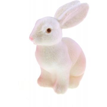 Lapin flocké blanc  10,5 x 7 x 15 cm