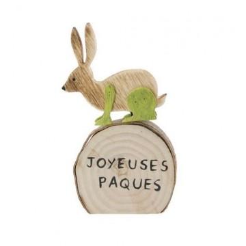 Lapin sur rond Bois Joyeuses Pâques 13 x 8 x 1,5 cm