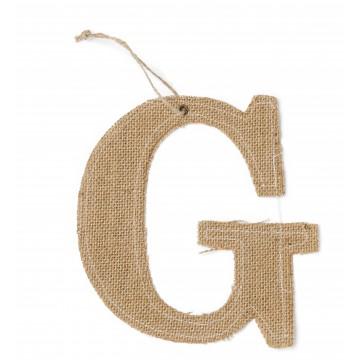 Lettre G en jute 15,5 cm