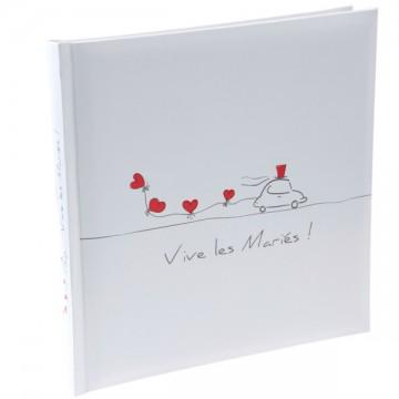 Livre d'or Blanc Vive les Mariés 24 x 24 cm