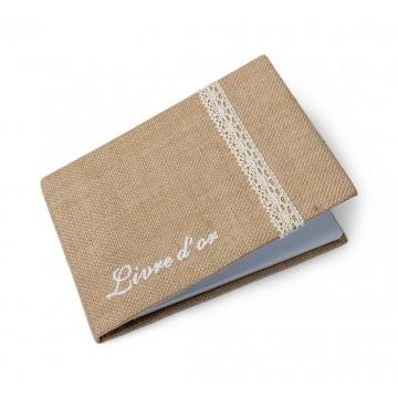 Livre d'or jute et dentelle 32 pages 24 x 17,5 cm