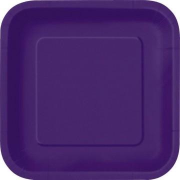 Lot de 10 assiettes carrée en carton aubergine