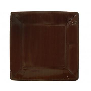 Lot de 10 assiettes carrée en carton chocolat