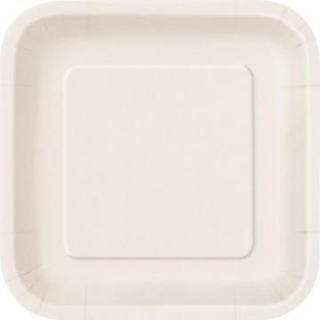 Lot de 10 assiettes carrée en carton ivoire