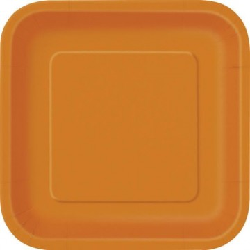 Lot de 10 assiettes carrée en carton orange