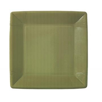 Lot de 10 assiettes carrée en carton taupe