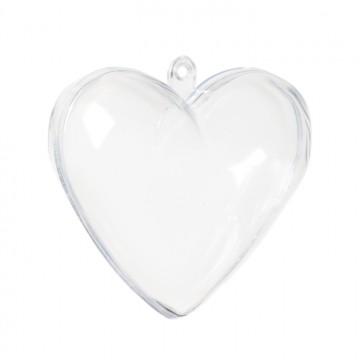 Lot de 10 boules transparentes coeur 6, 5 cm