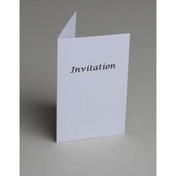 Lot de 10 cartes d'invitation blanches impression noire + enveloppe