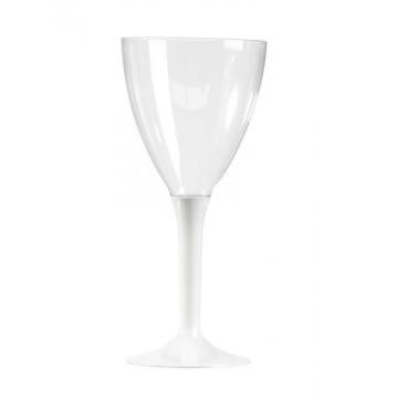 Lot de 10 verres à vin jetables en plastique blanc