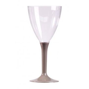 Lot de 10 verres à vin jetables en plastique  gris