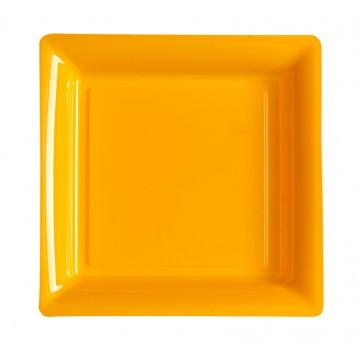 Lot de 12 assiettes carrées jetables orange MM