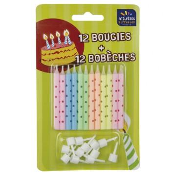 Lot de 12 bougies Pois Pastel + 12 bobèches