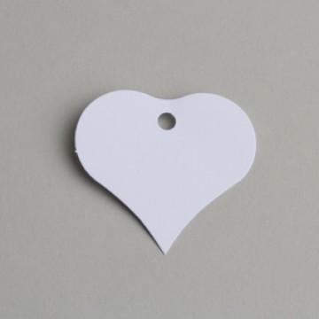 Lot de 12 étiquettes coeur blanc