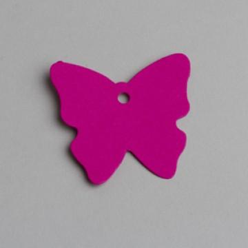 Lot de 12 étiquettes papillon fuschia