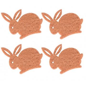 Lot de 12 lapins en feutrine marron clair 4 cm