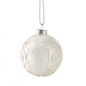 Lot de 2 Boules verre décorées avec plume blanche
