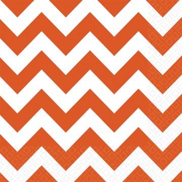 Lot de 20 serviettes Chevron orange 33 x 33 cm