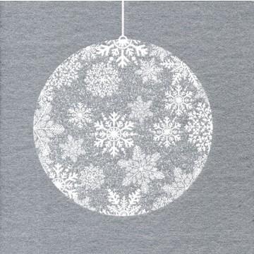 Lot de 20 serviettes intissé  Boule de Noël argent 25 x 25 cm