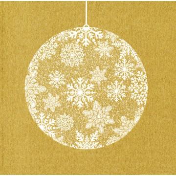 Lot de 20 serviettes intissé  Boule de Noël or 25 x 25 cm