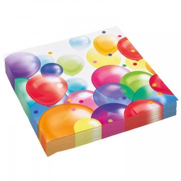 Lot de 20 serviettes jetables Balloons Fiesta en papier 33 x 33 cm