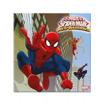 Lot de 20 serviettes jetables Spiderman publishing en papier 33 x 33 cm