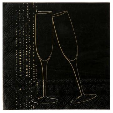 Lot de 20 serviettes papier Champagne noires 33 x 33 cm
