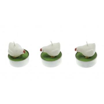 Lot de 3 bougies poule 3,5 x 4 cm