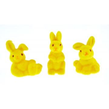 Lot de 3 lapins flockés jaunes PM