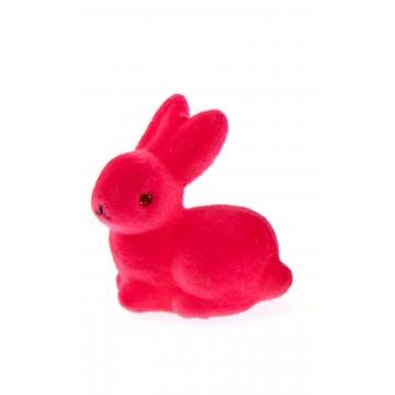 Lot de 3 petits lapins floqués fuschia