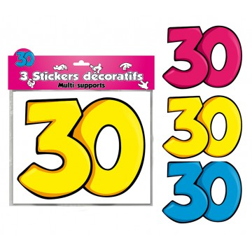 Lot de 3 stickers 30 ans