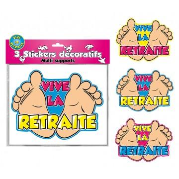 Lot de 3 stickers Vive la retraite