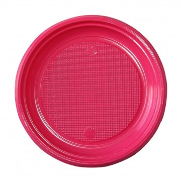 Lot de 30 assiettes ronde en plastique fuschia