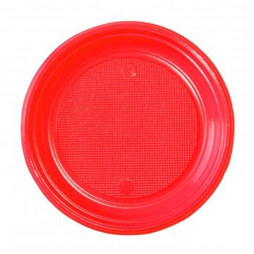 Lot de 30 assiettes ronde en plastique rouge