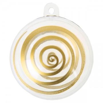 Lot de 4 boules transparentes spirale or