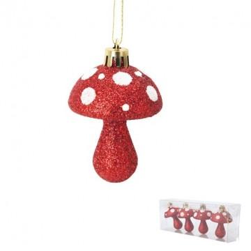Lot de 4 suspensions champignons rouges 6 cm