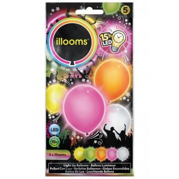 Lot de 5 Ballons à led pastels