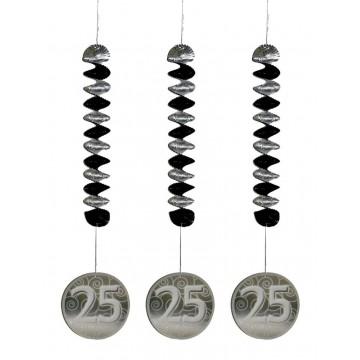 Lot de 5 Tourbillons Spirale 25 ans argent 61 cm
